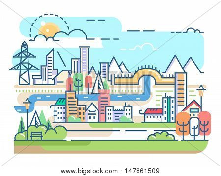 City with river and dwellings. Town condominium in linear style. Vector illustration