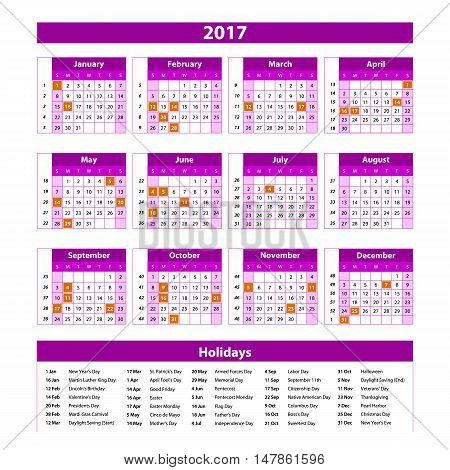 Year Planner Calendar 2017 - International Worldwide Printable Organizer Planner Scheduler - With Da