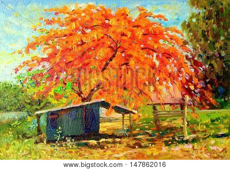 Painting oil color landscape original colorful of peacock flower tree and emotion in red with cloud in the sky background