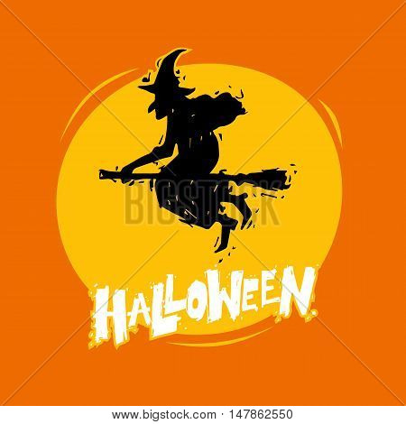 Happy halloween poster, banner, fly-er. Witch flying on a broomstick. Lettering, calligraphy, lino-cut. Halloween party. Flat design vector illustration.