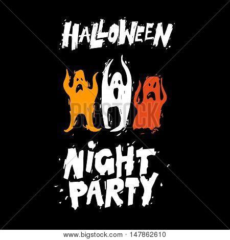 Happy halloween poster, banner, fly-er. Lettering, calligraphy, lino-cut. Halloween party. Flat design vector illustration.