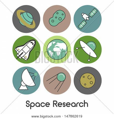 Space Research Line Art Thin Vector Icons Set with Shuttle and Planets