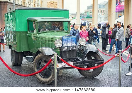Moscow Russia - September 11 2016: Moscow City Day. Moscow residents and guests celebrate the 869 anniversary of the city. Retro car GAZ-AA for military purposes 1942 edition.