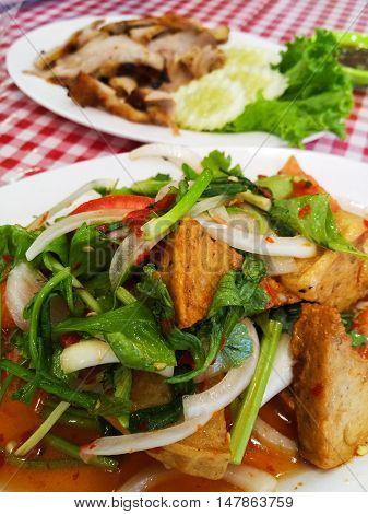 Thai pork sausage salad Thai cuisine spicy pork salad.