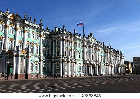 Saint-Petersburg, Russia - August 25, 2016: Hermitage Museum and Palace Square. Russian cultural heritage in the August 25, 2016 in St. Petersburg, Russia.