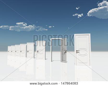 Sigle open door amongst several  in surreal landscape 3D Render