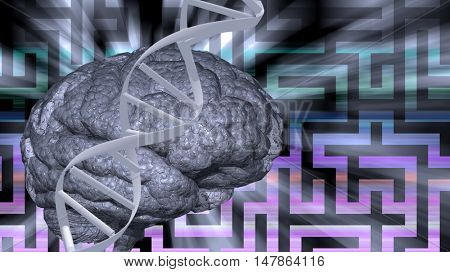 DNA and brain puzzle 3D Render
