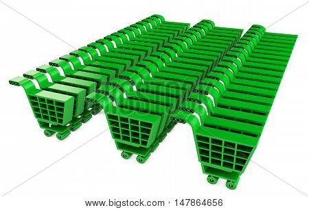 Green grocery carts 3d render  basket, business, buy, carrying,