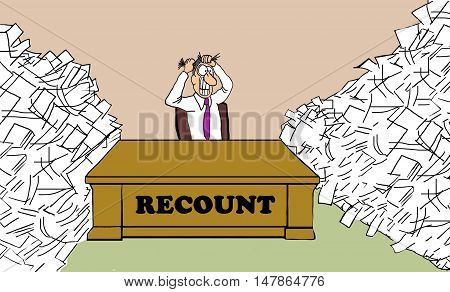 Political cartoon showing a man pulling his hair out, he is in charge of the Presidential election recount.