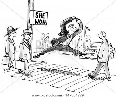 Political cartoon showing a man excitedly jumping up because the sign says, 'she won'.
