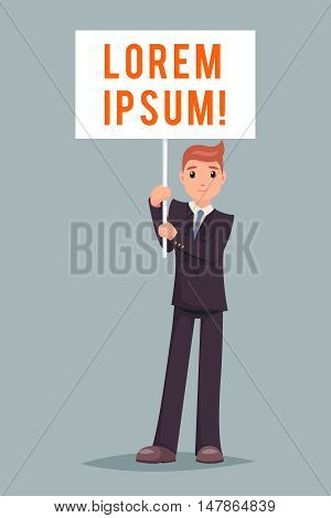 Event Demonstration Poster Stand Businessman Character Icon Cartoon Design Vector Illustration
