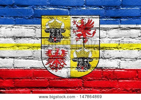 Flag Of Mecklenburg-western Pomerania With Coat Of Arms, Germany, Painted On Brick Wall