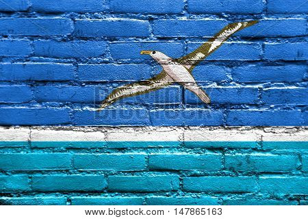 Flag Of Midway Atoll (unofficial), Painted On Brick Wall