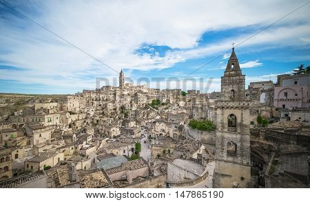 Panoramic View Of Typical Stones (sassi Di Matera) And Church Of