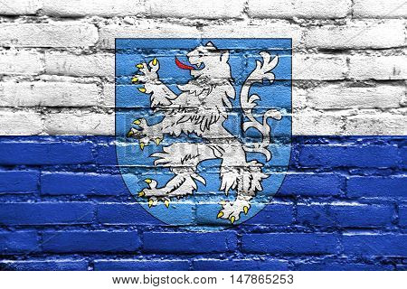 Flag Of Mlada Boleslav With Coat Of Arms, Czechia, Painted On Brick Wall