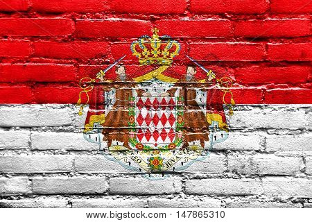 Flag Of Monaco With Coat Of Arms, Painted On Brick Wall