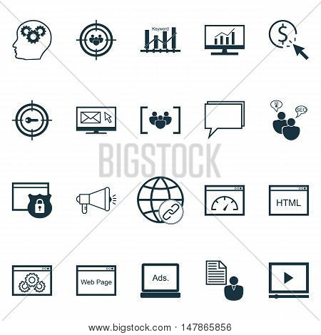 Set Of Seo, Marketing And Advertising Icons On Pay Per Click, Website Optimization, Client Brief And