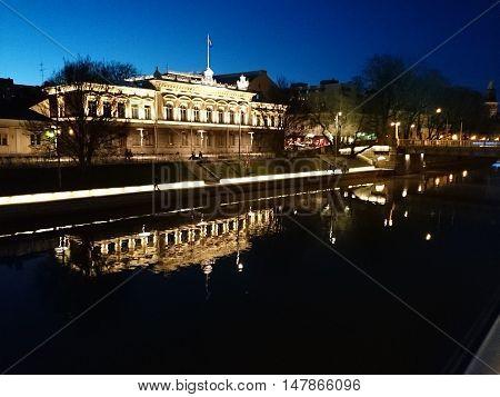 Nightshot in Turku Finland, River named Aurajoki