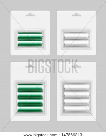 Vector Set of Two and Four White Silver Green Glossy Alkaline AA Batteries in White Blister Packed for branding Close up Isolated on Background