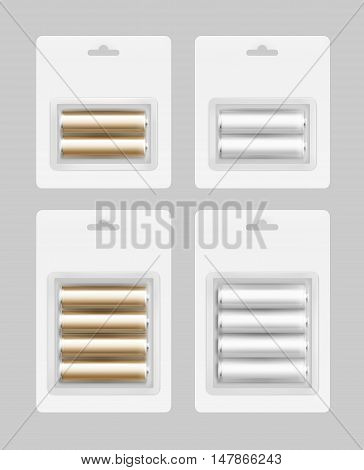 Vector Set of Two and Four White Silver Golden Glossy Alkaline AA Batteries in White Blister Packed for branding Close up Isolated on Background