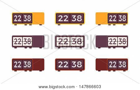 Set of retro flip alarm clocks isolated against the white background. Cartoon vector flat-style illustration