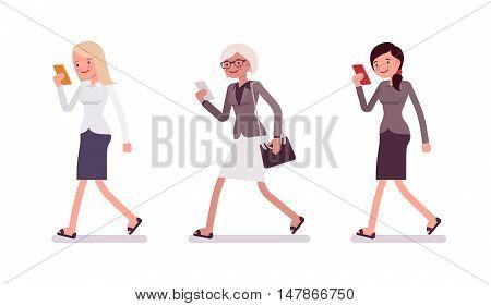 Three women are walking holding a smartphone. Cartoon vector flat-style illustration