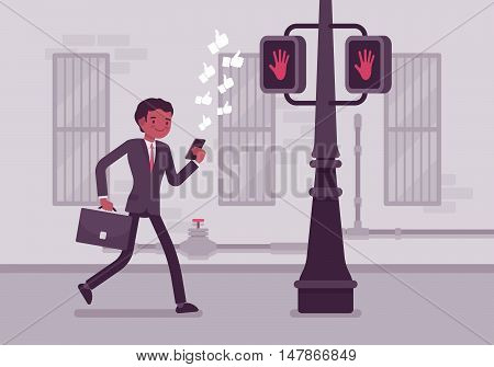 Man walks with a smartphone to crash into a pole. Cartoon vector flat-style concept illustration