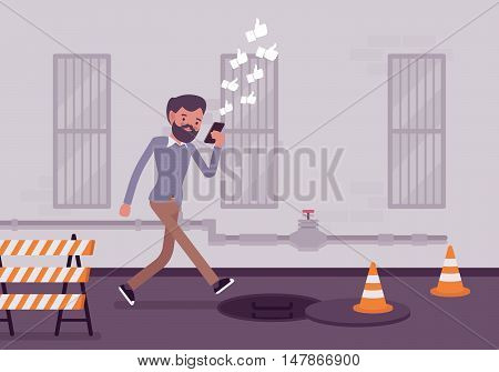 Man walkis with smartphone to fall into a manhole. Cartoon vector flat-style concept illustration