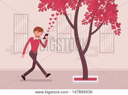 Man walks with smartphone to bump into a tree. Cartoon vector flat-style concept illustration