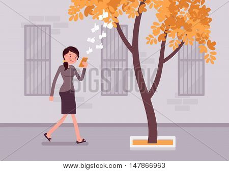 Woman walks with smartphone to bump into a tree. Cartoon vector flat-style concept illustration