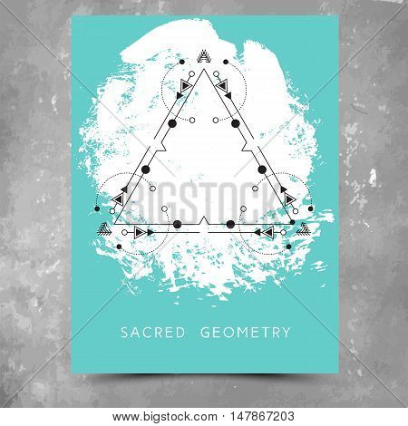 Vector geometric alchemy symbols with phrase on hand drawn background with splash of aqua blue paint. Abstract occult and mystic sign. Business card template and line hipster logotype. Concept of yoga