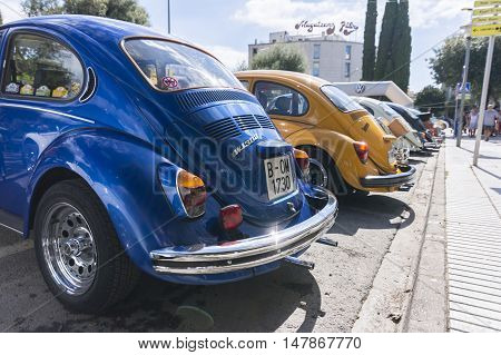 Tossa de Mar, Spain. September 17, 2016: Vintage Volkswagen beetle in the 23rd Volkswagen classics meeting in Tossa de Mar. This is a meeting point for many fans of the classic air-cooled Volkswagen.