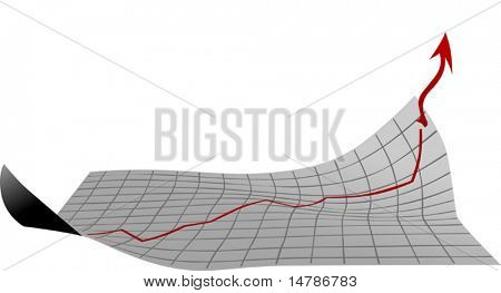 illustration with sheet with growth diagram isolated on white background