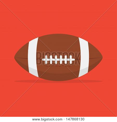 American football ball vector icon isolated from the background. Leather with a seam the ball for American football in a flat style. Sport and active leisure symbol.
