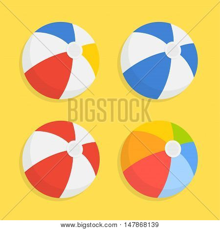 Beach ball vector icon set isolated from the background. Striped colored inflatable beach balls in a flat style. The symbol of leisure and fitness.