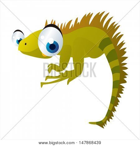 vector funny animal cute character illustration. Iguana