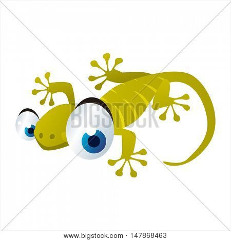 vector funny animal cute character illustration. Gecko