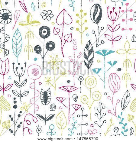 Wax crayon drawing flowers set. Vector illustration.