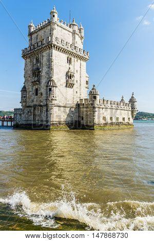 Torre Of Belem At Sunset, Famouse Landmark Of Lisbon, Portugal, Retro Toned