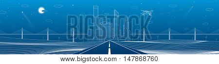 Infrastructure panorama. Highway. Big bridge, business center, architecture and urban illustration, neon city, white lines composition on blue background, skyscrapers and towers, vector design art