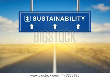 sustainability words on blue road sign with blurred background