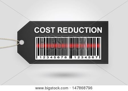 cost reduction price tag with barcode and grey radial gradient background