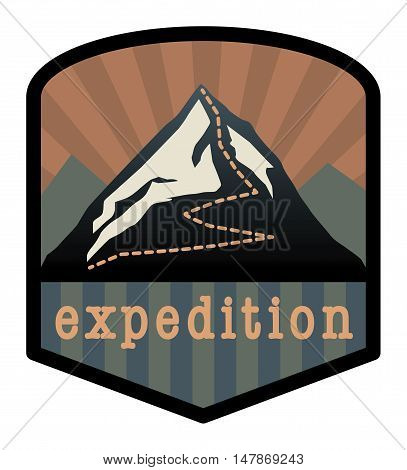 Mountain expedition sign or symbol, vector illustration