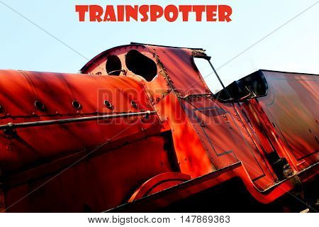 Abstract creative Trainspotter railway greeting card scene