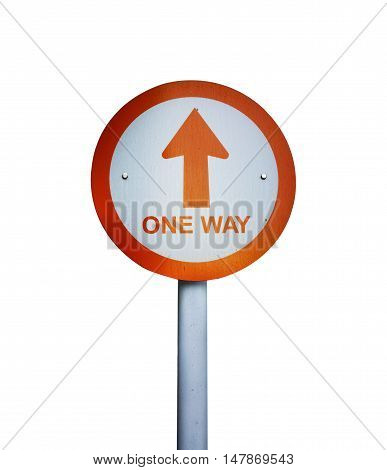 One Way Board Isolated Background
