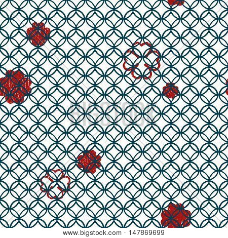 seamless vector geometric blue lineal circle pattern with red four leaf clovers