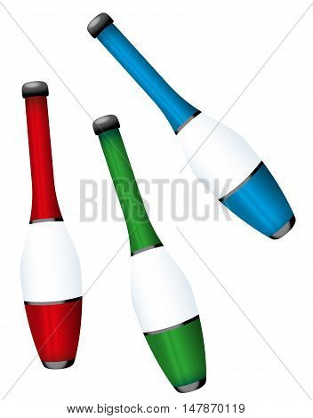 Juggling clubs - three-dimensional colorful set - isolated vector illustration on white background.