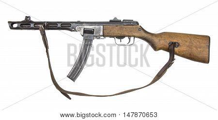 Soviet machine-gun from World War II isolated on white background. Automatic gun.