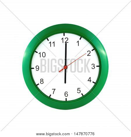 Six o'clock on big wall clock in green case isolated on white closeup