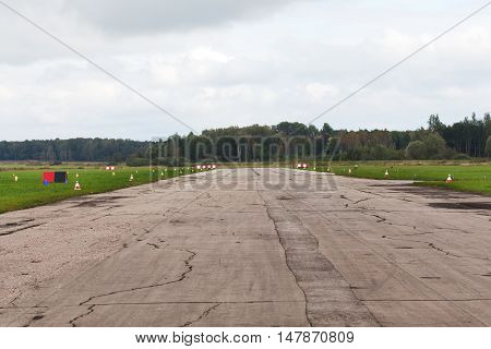 The runway for small planes in the forest